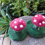 Twin Toadstool Felted Sculptures