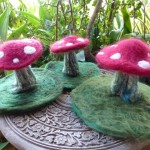 Fairy Toadstool Felted Sculptures